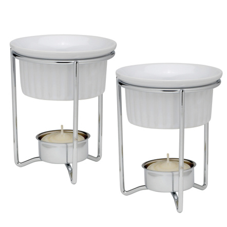 HIC Ceramic 4 Inch Butter Warmer Dishes with Stands, Set of 2