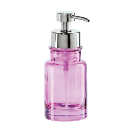 Oggi Pink Glass 10 Ounce Round Soap Foamer