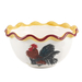 White Ceramic French Country Rooster Bowl, Set of 4