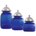 Artland Cobalt Blue 3 Piece Glass Canister Set with Barrington Lids