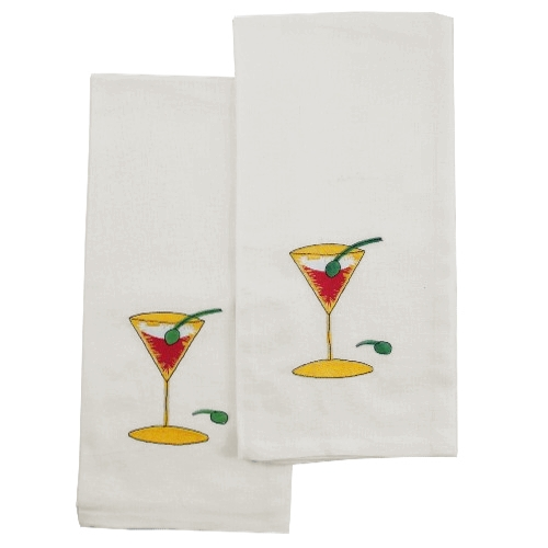 Cocktail Martini Kitchen Dish Towel - Set of 2