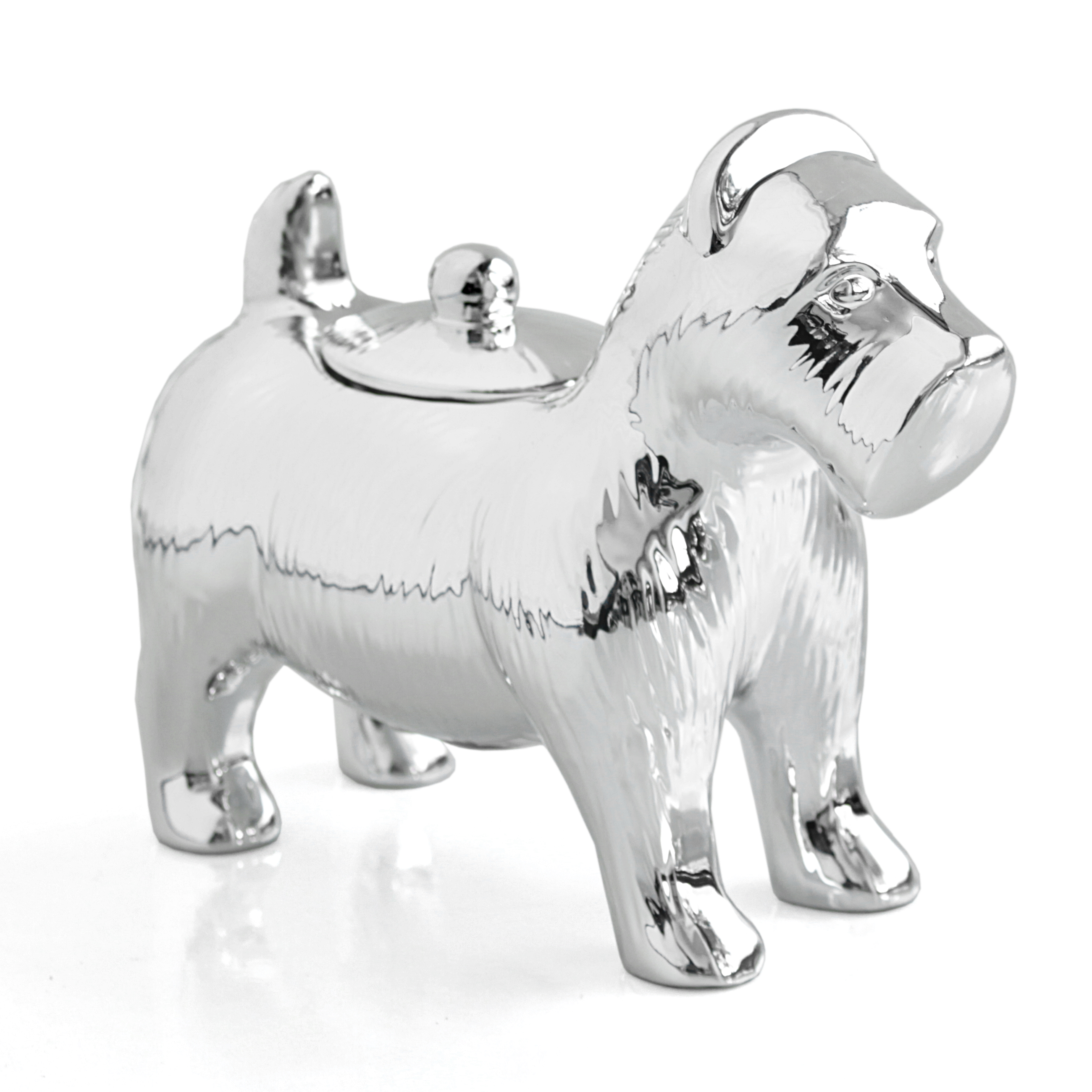 Retro Monopoly Silver Glazed Chrome Scottie Dog Jar
