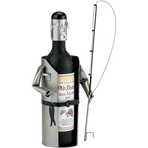 Old Dutch Metal Happy Fisherman Wine Bottle Holder Buddy