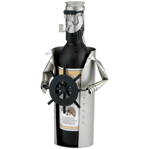 Old Dutch Metal Ship's Captain Wine Bottle Holder Buddy