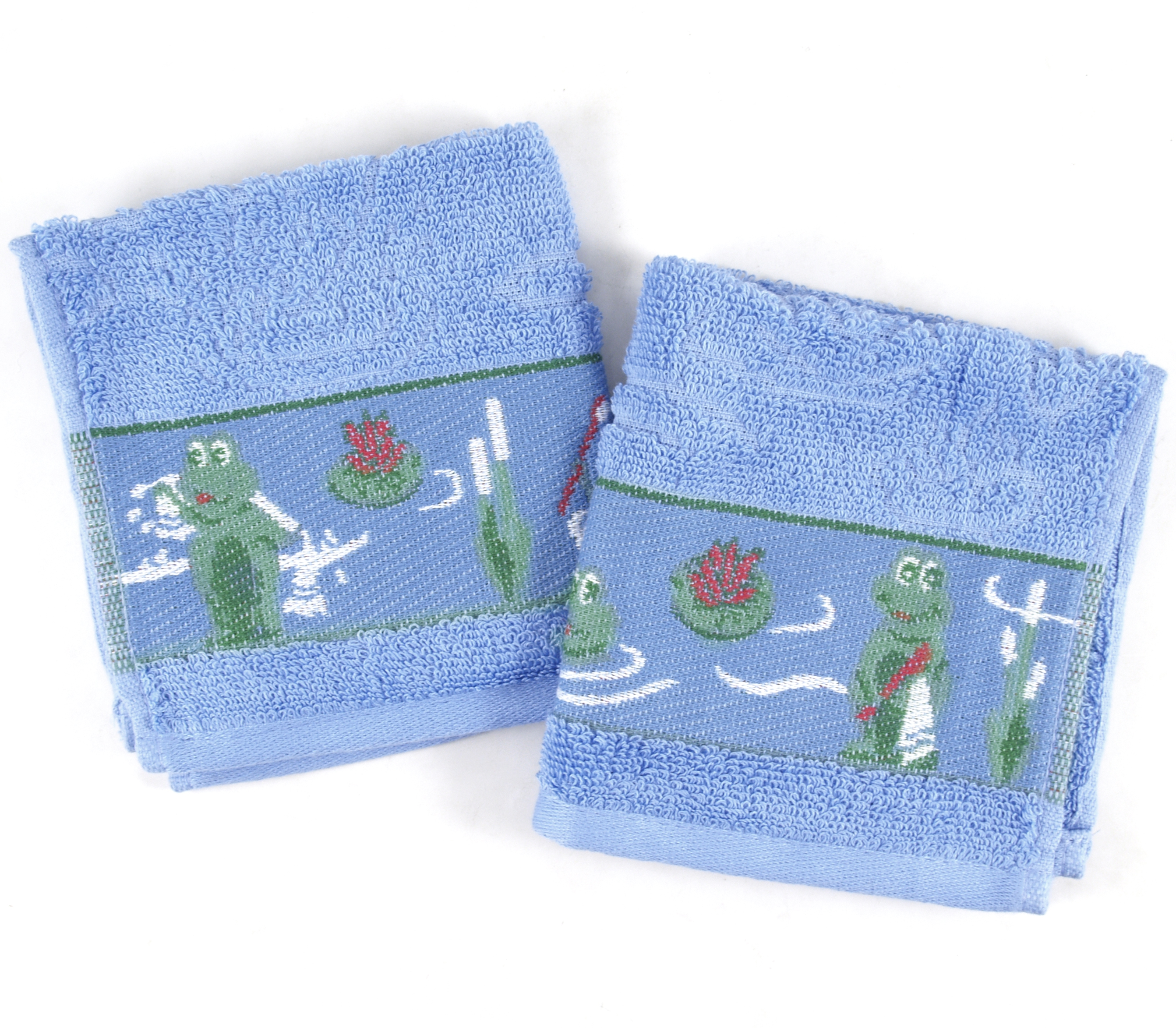 Froggy Blue Cotton Washcloths 12x12, Set of 2