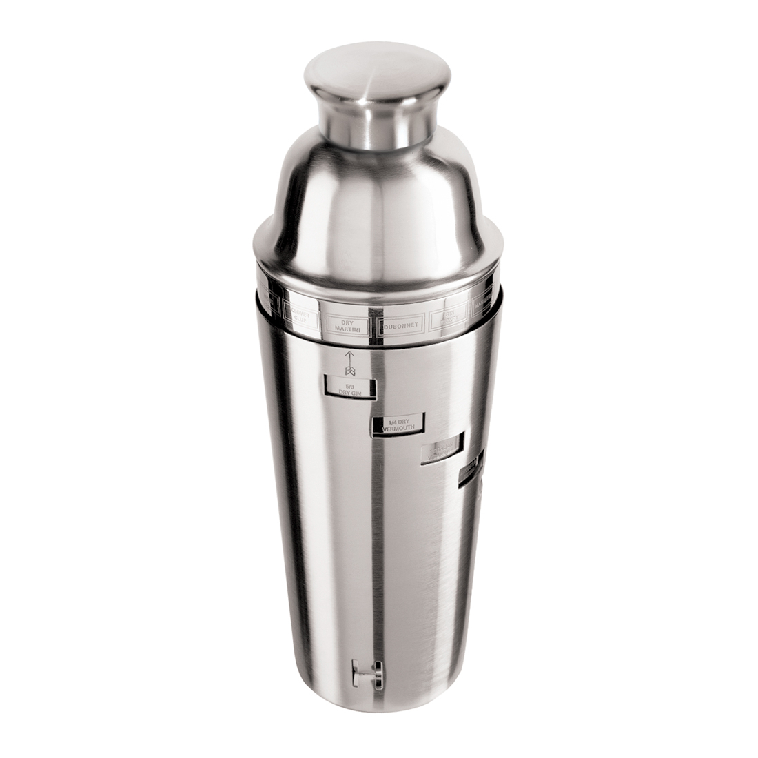 Stainless Steel Dial a Drink Cocktail Shaker w/ Recipes