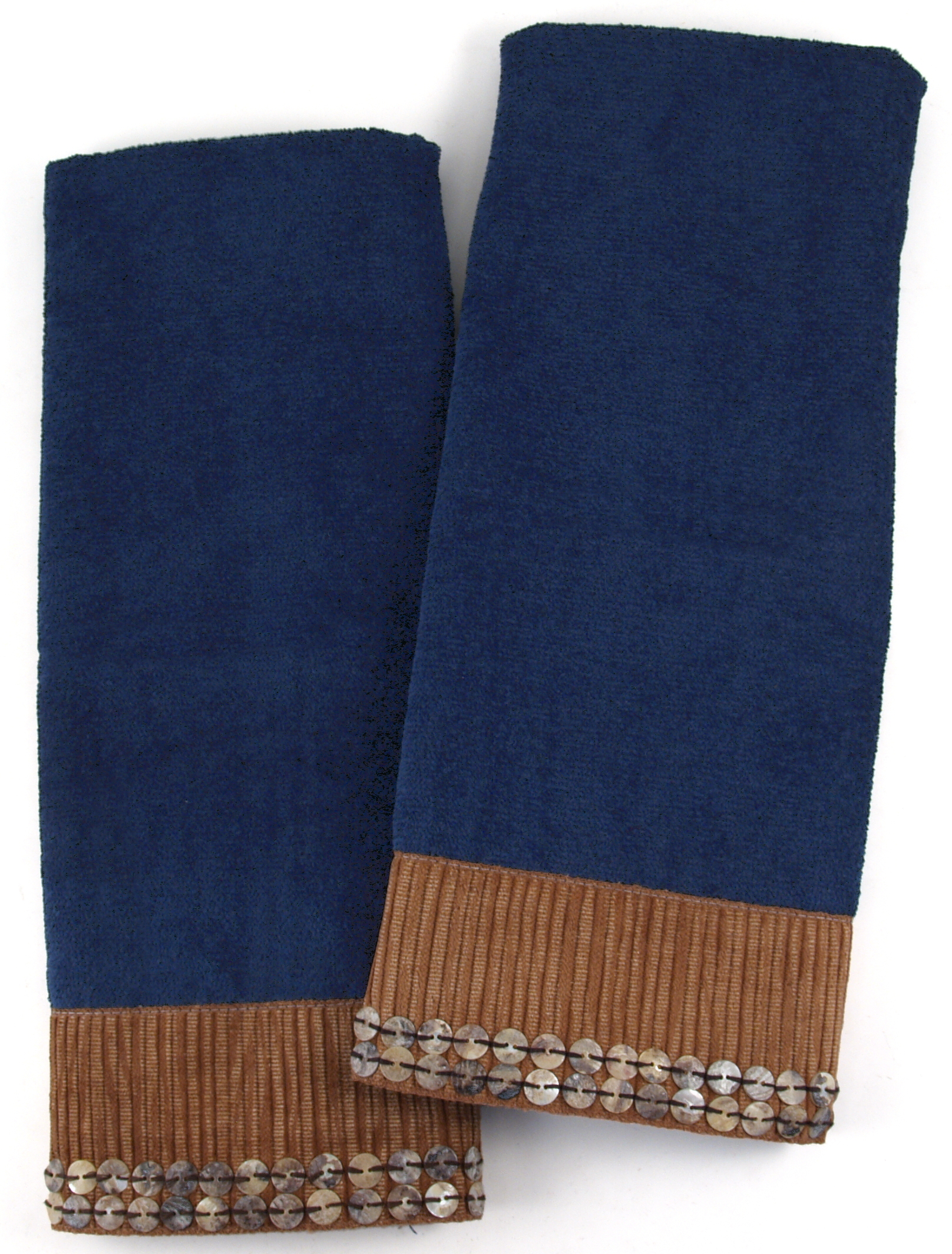 Midnight Blue Rattan Cotton Hand Towel With Shell Band, Set Of 2