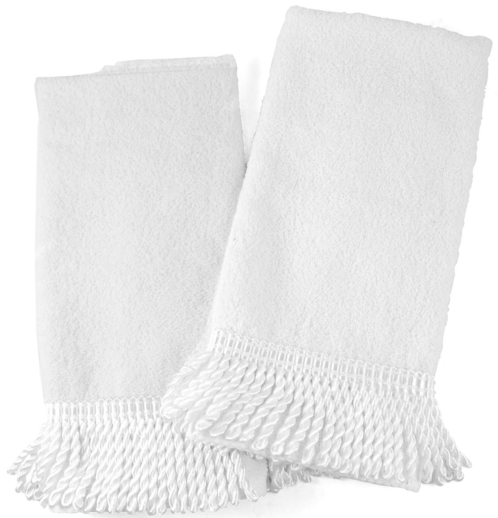 White Cotton Hand Towel With White Tassel Trim Set Of 2