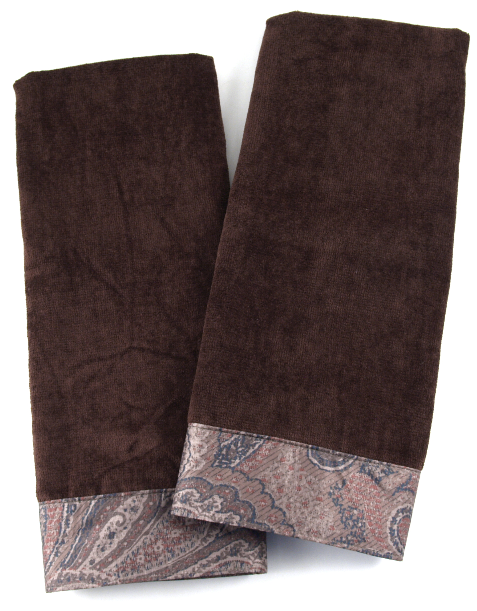 Chocolate Brown Cotton Hand Towel With Paisley Trim, Set Of 2