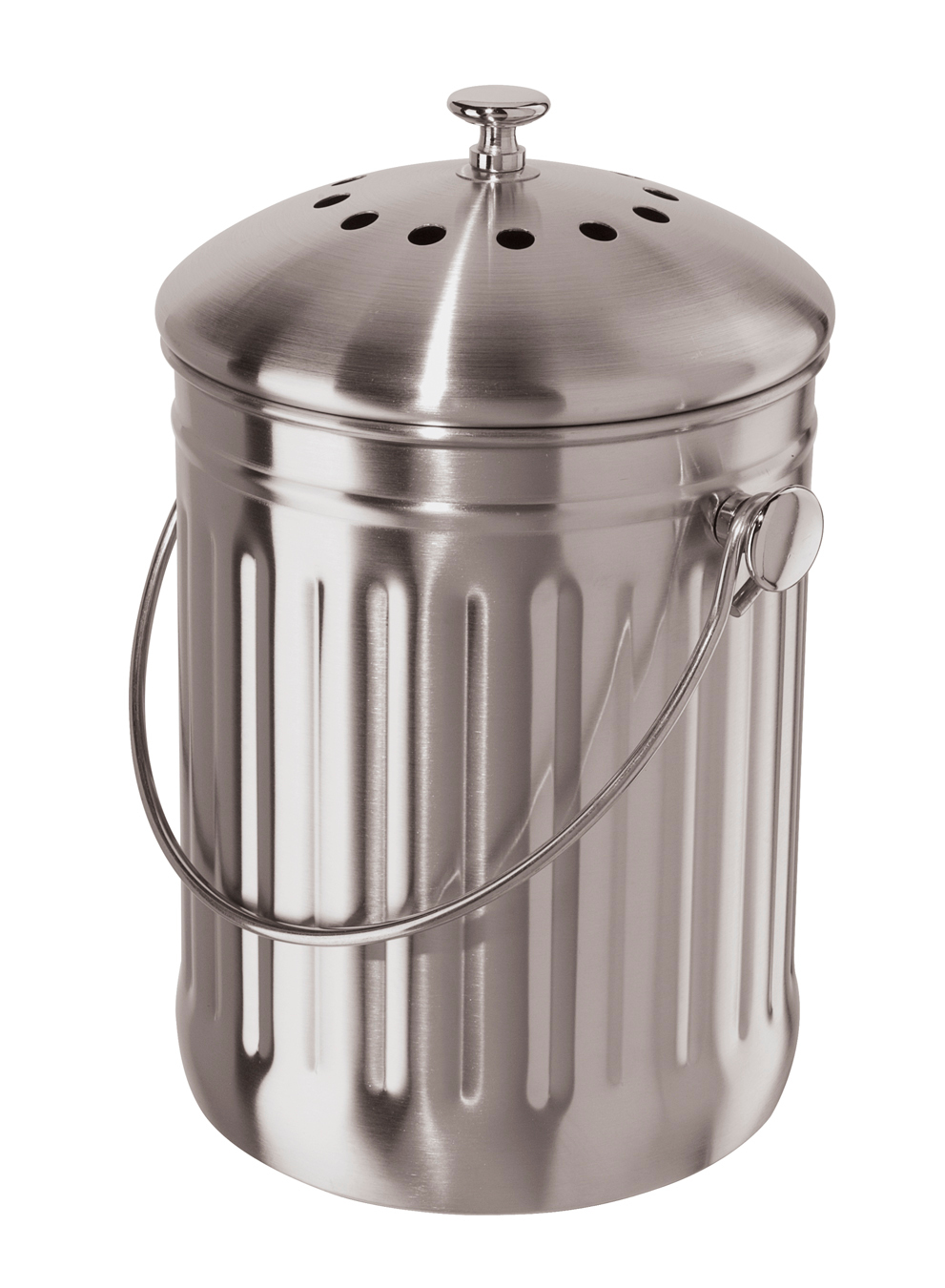 Oggi Stainless Steel Counter Top Compost Pail with Charcoal Odor Filter