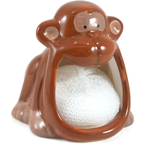 Boston Warehouse Monkey Earthenware Dish Scrub Holder with Scrubby