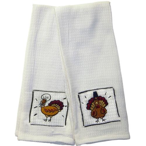 Embroidered Turkey 100% Cotton Kitchen Towel, Set of 2