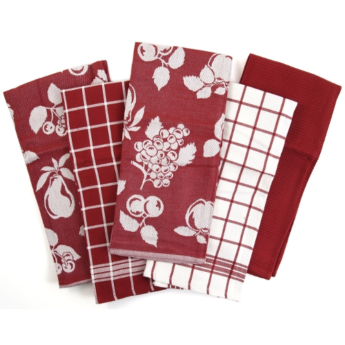 Red & White 5 Piece Fruit Egyptian Cotton Kitchen Towels