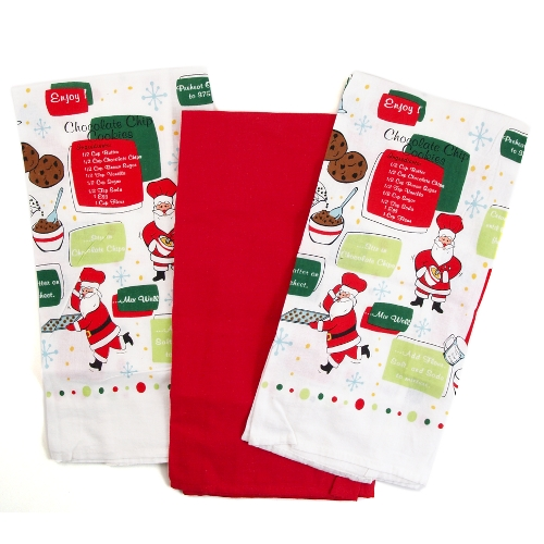 Santa Claus Baking Flour Sack Kitchen Towel - Set of 3