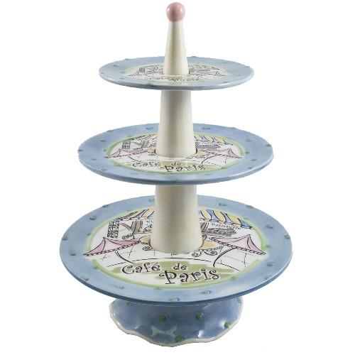 Cafe De Paris 3 Tier Dessert Plate Stand Ceramic