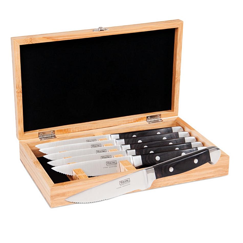 Viking Professional Black Pakka Wood 6 Piece Steak Knife Set with Bamboo Box