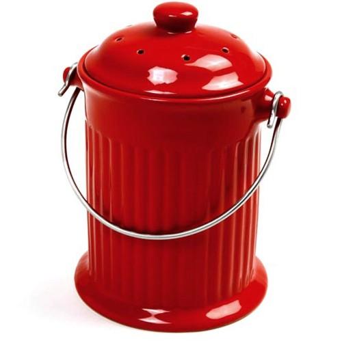Norpro Red Ceramic Kitchen Compost Keeper Pail