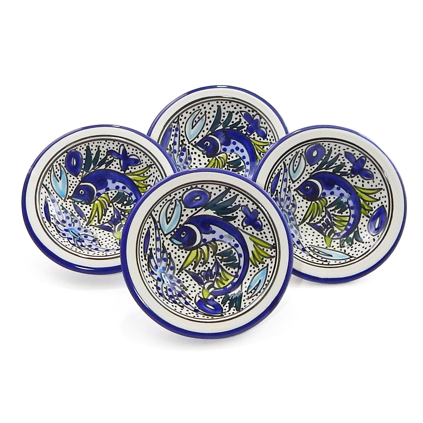 Le Souk Ceramique Aqua Fish Round Sauce Dish, Set of 4