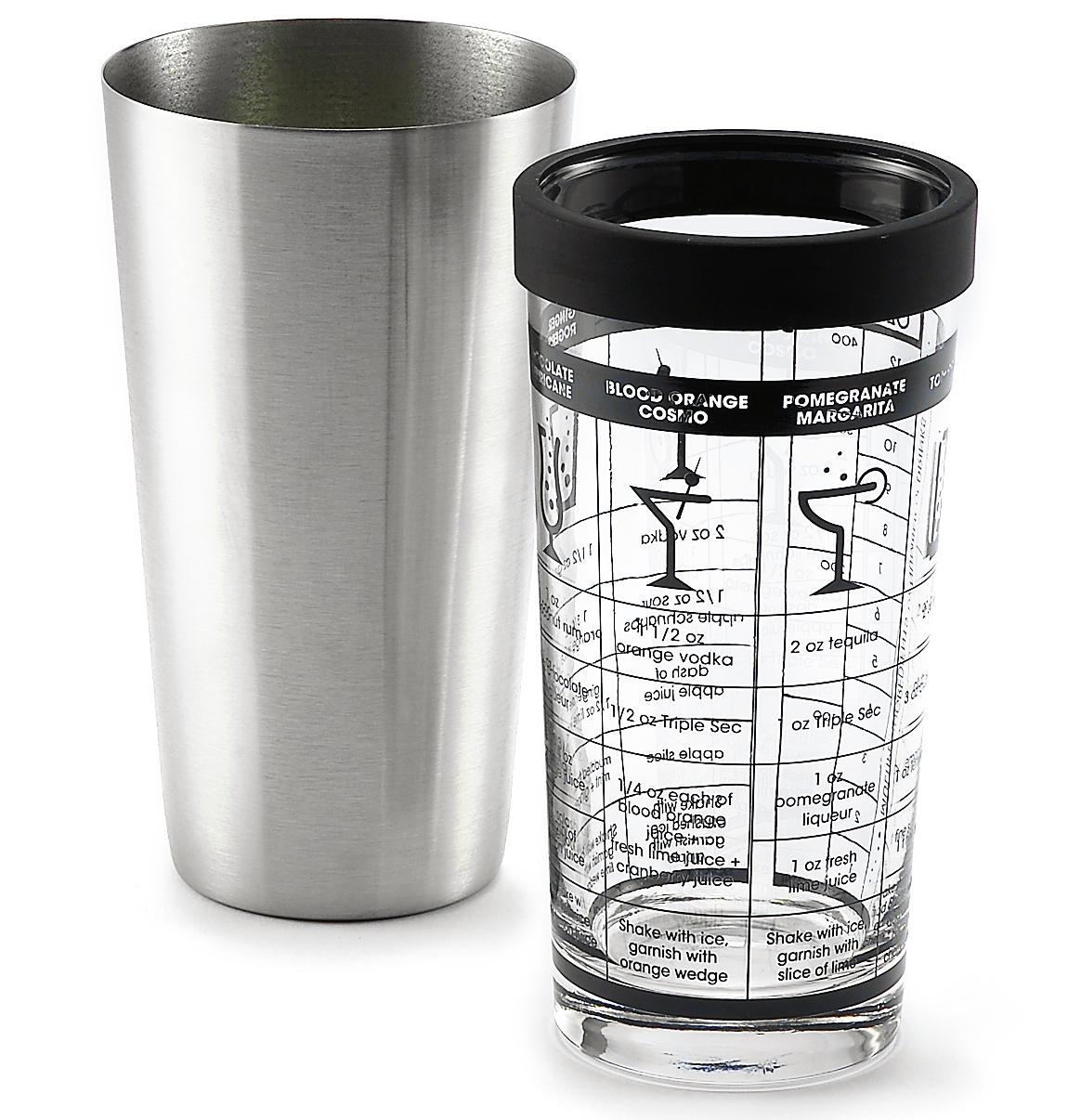 Outset Glass and Stainless Steel Boston Cocktail Shaker