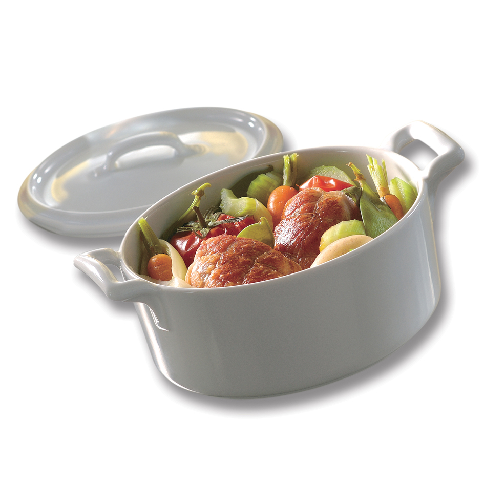 Revol Belle Cuisine White Porcelain Oval Cocotte with Lid, 15.75 Ounce