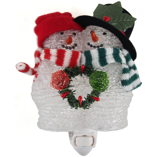Red & Green Christmas Snowman Night Light
