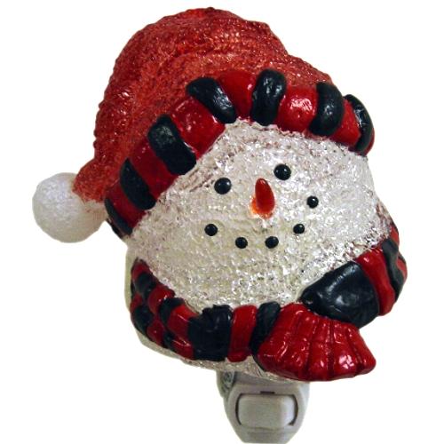 Red Cozy Snowman Christmas Night Light