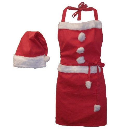 Christmas Holiday Santa Red Apron & Hat 2 PC Set