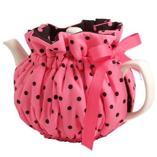 Pink Polka Dot Teapot Cozy Wrap Around