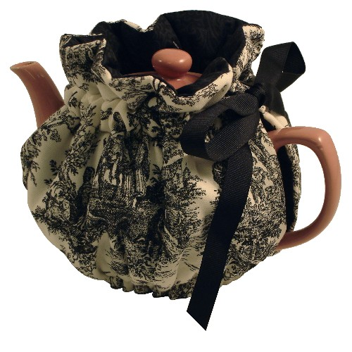 Black Toile Teapot Cozy Wrap Around