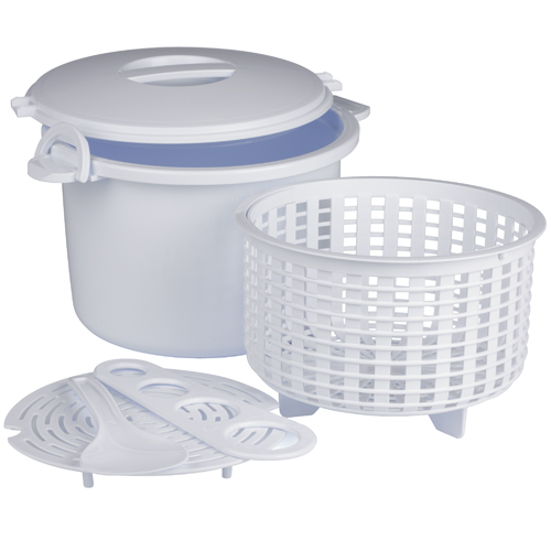 Progressive White Plastic Microwavable 17 Piece Rice and Pasta Cooker Set