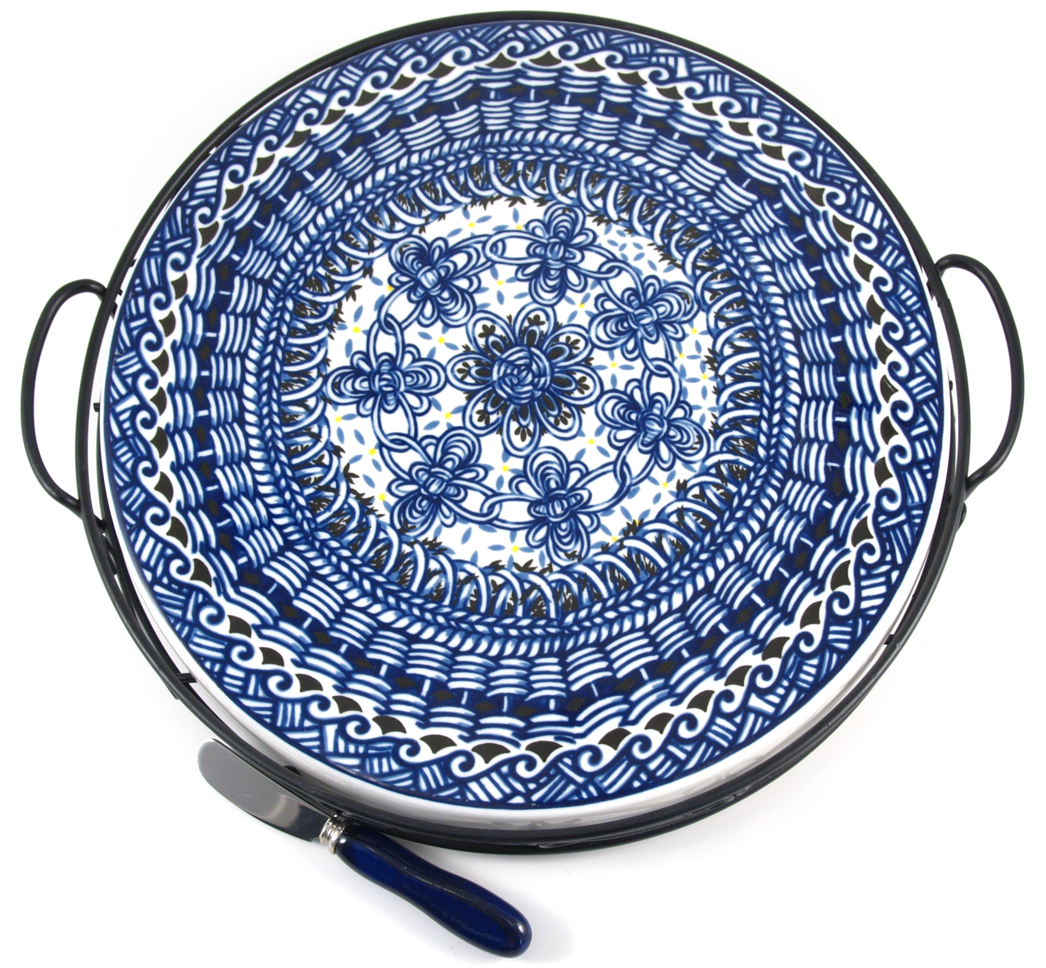 Ceramic Blue Braid Cheese Serving Set 3 Piece