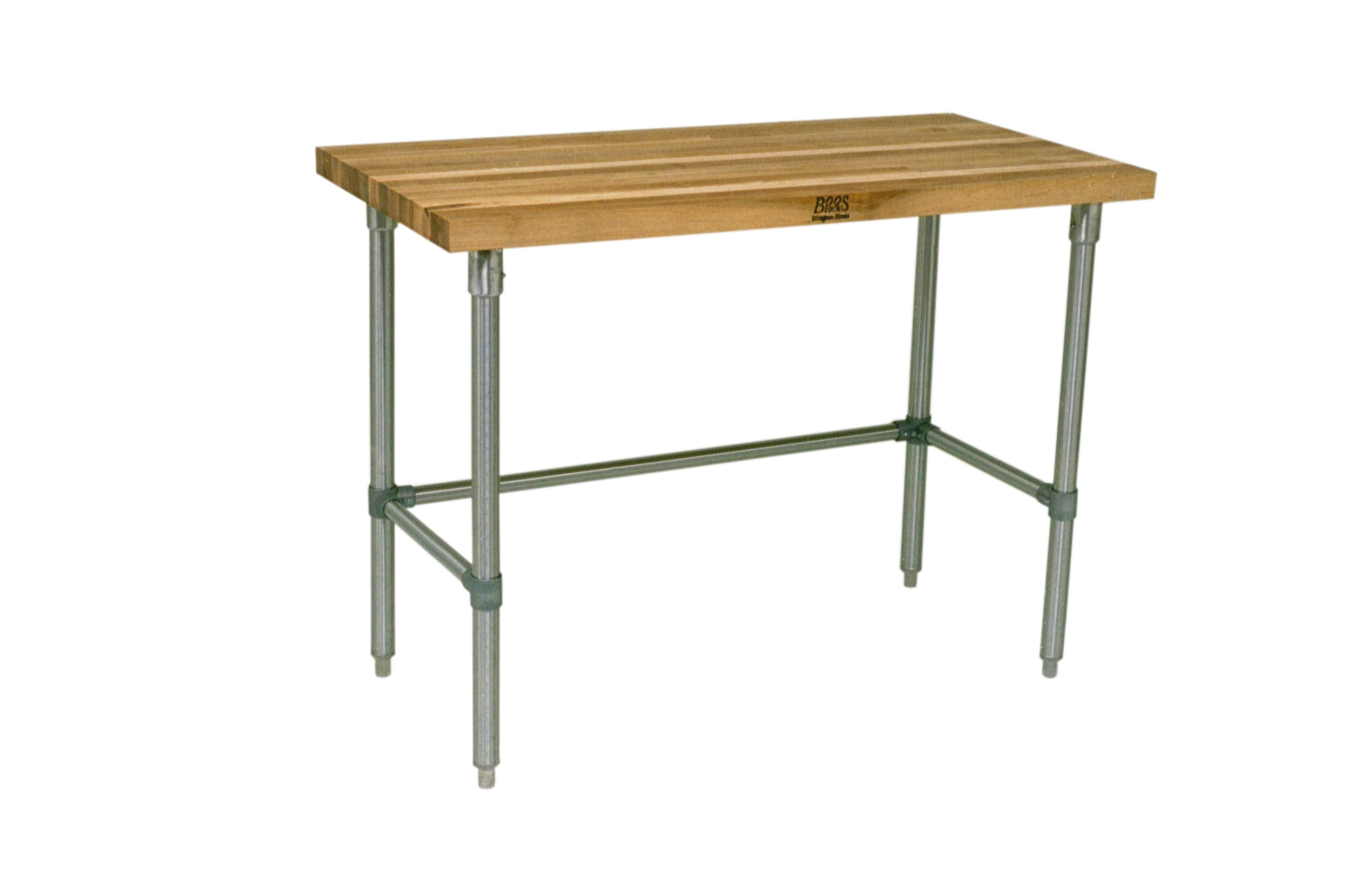 John Boos Thick Maple Top Work Table on Adjustable Galvanized Base, 72 x 30 Inch