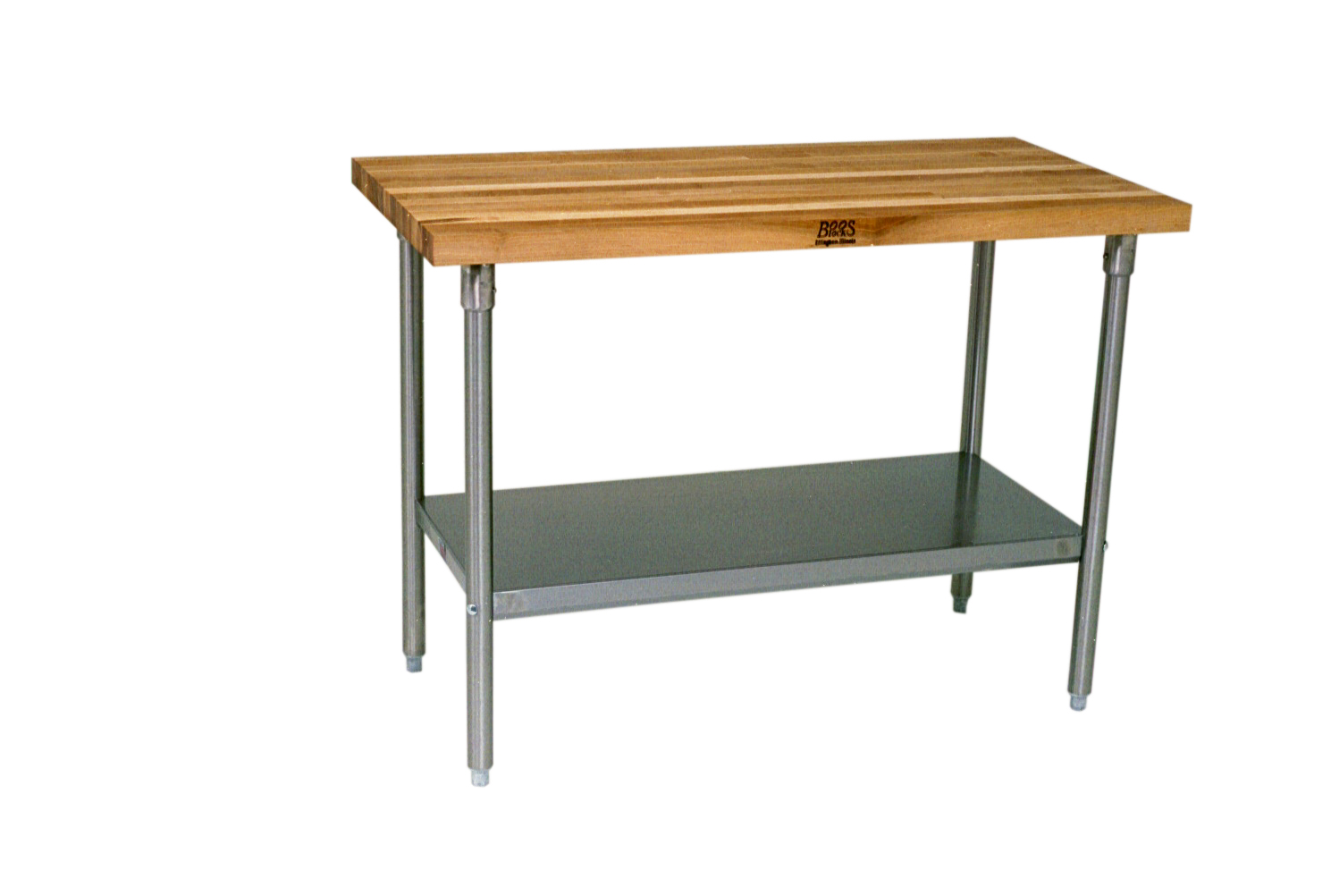 John Boos Thick Maple Top Work Table on Galvanized Base with Shelf, 60 x 24 Inch