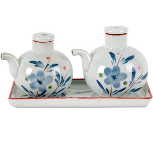 Blue Chinese Flower Design Soy & Vinegar Set w/ Tray