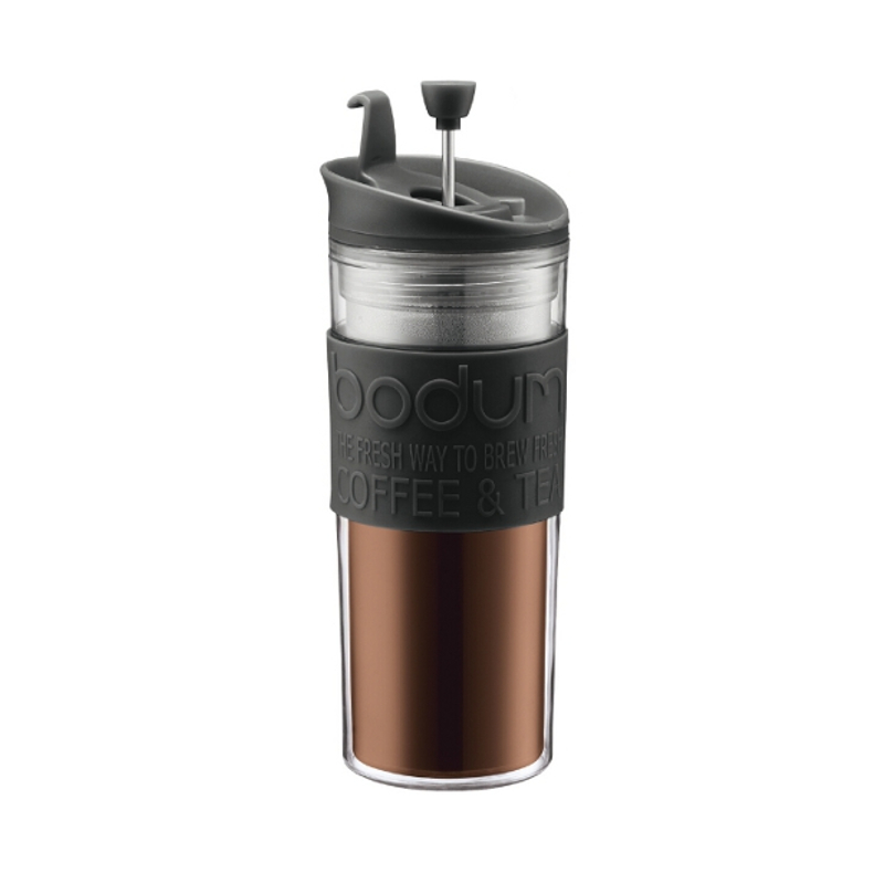 Bodum Travel Press Coffee Maker in Black with Bonus Lid, 15 Ounce