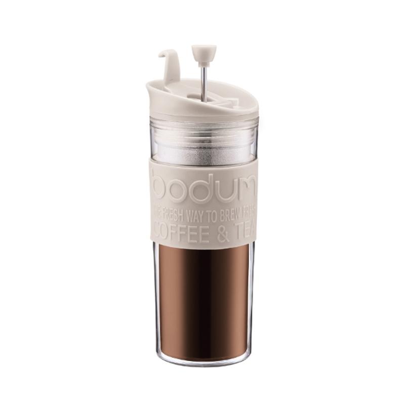 Bodum Travel Press Coffee Maker in White with Bonus Lid, 15 Ounce