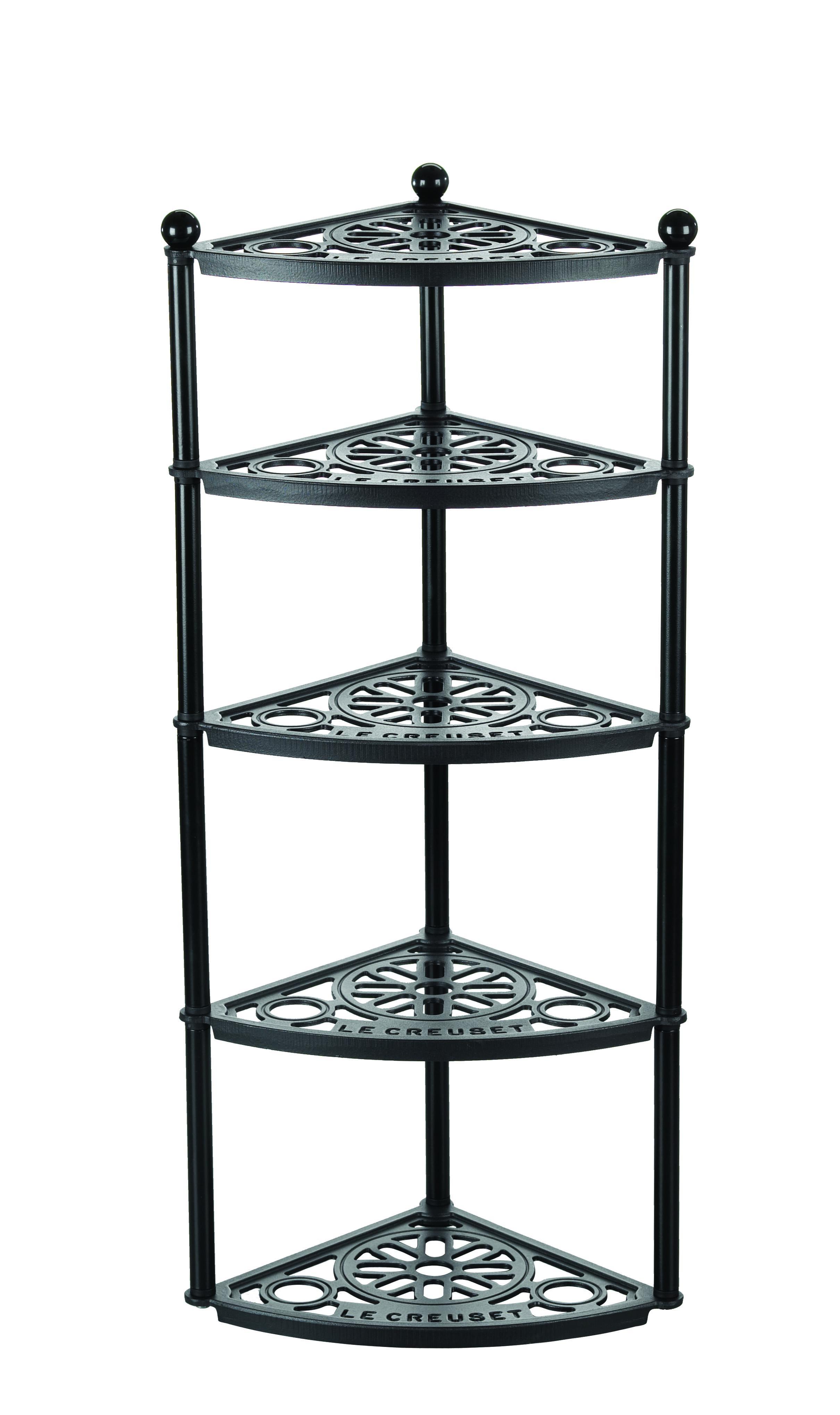 Le Creuset Black Enameled Cast Iron 35 Inch 5 Shelf Cookware Pot Stand