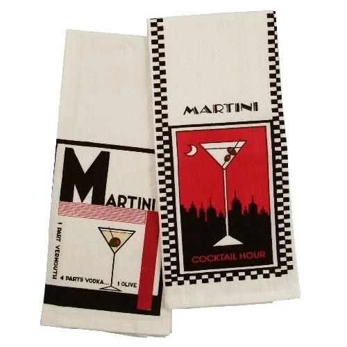 Martini Cocktail Recipe Flour Sack Towel - Set of 4