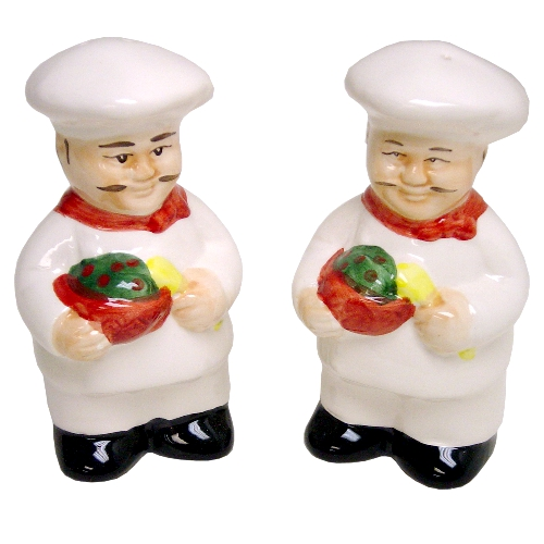 Chef Ceramic Salt and Pepper Shaker Set