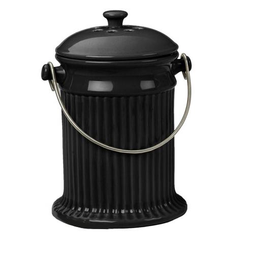Black Stoneware Kitchen Compost Pail
