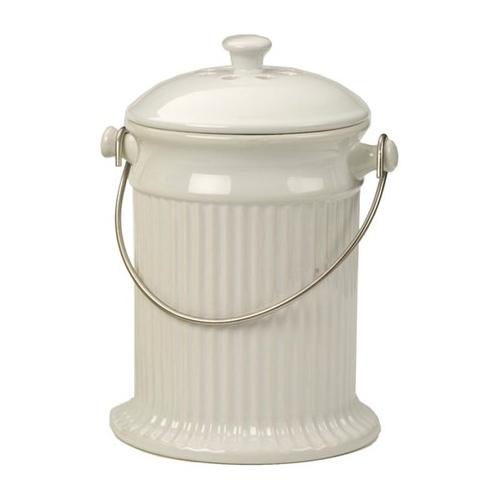 White Stoneware Kitchen Compost Pail
