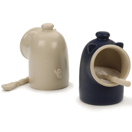 Blue stoneware Salt Pig Including Spoon Salt Keeper