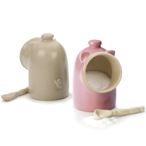Pink Stoneware Salt Pig Spoon Salt Keeper - NEW