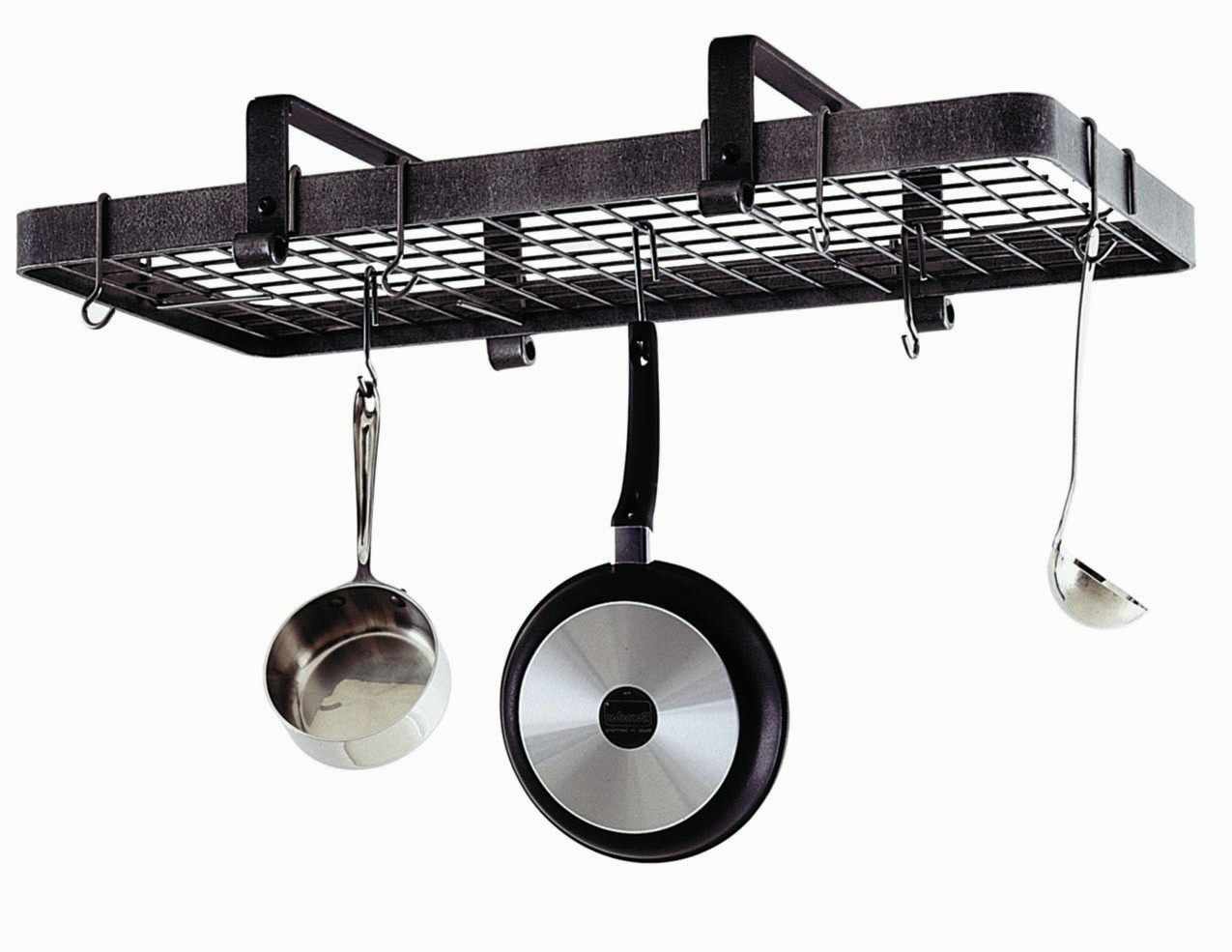 Enclume Hammered Steel Low Ceiling Rectangle Hanging Pot Rack