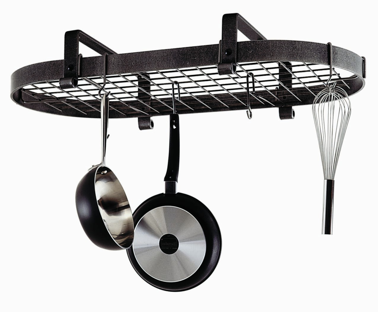 Enclume Hammered Steel Low Ceiling Oval Hanging Pot Rack