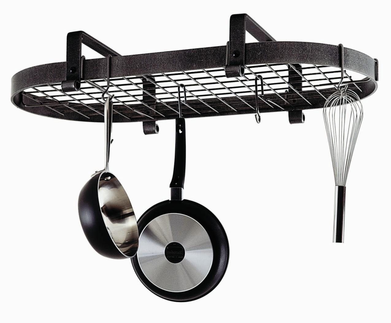 Enclume Hammered Steel Low Ceiling Oval Hanging Pot Rack