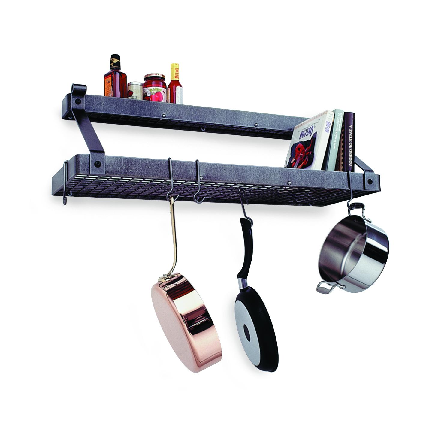 Enclume Hammered Steel Bookshelf 2 Shelf Pot Rack