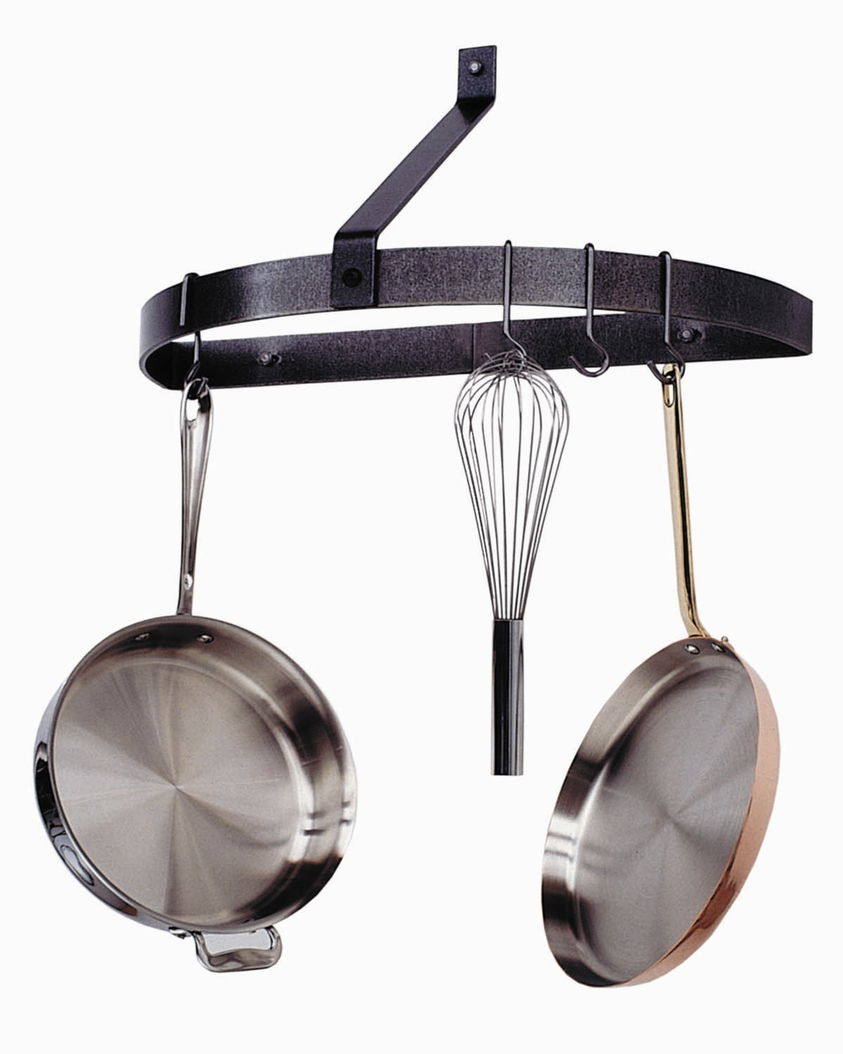 Enclume Hammered Steel Wall Mount Half Circle Pot Rack