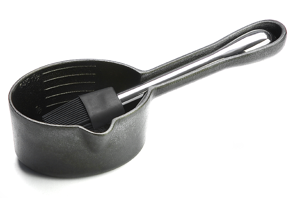 Outset Cast Iron Sauce Pot with Silicone Basting Brush