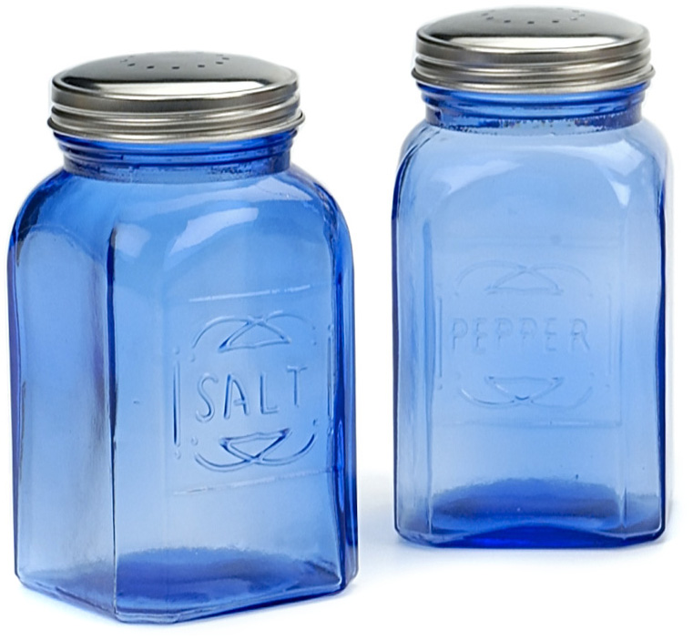 RSVP Retro Blue Glass Salt and Pepper Shaker Set